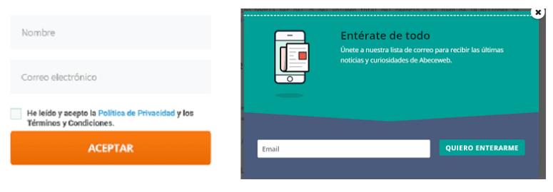 Formulario digital - suscripción nombre y email