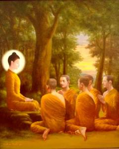 Buddha acompañado de monjes