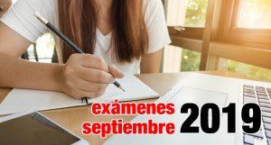 Horarios pruebas exámenes de septiembre