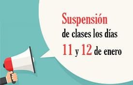 Suspensión de actividades lectivas el 11 y 12 de enero