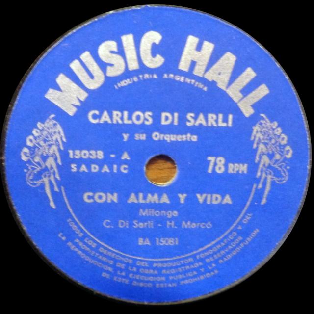 """""""Con alma y vida"""", Argentine Tango music vinyl disc."""