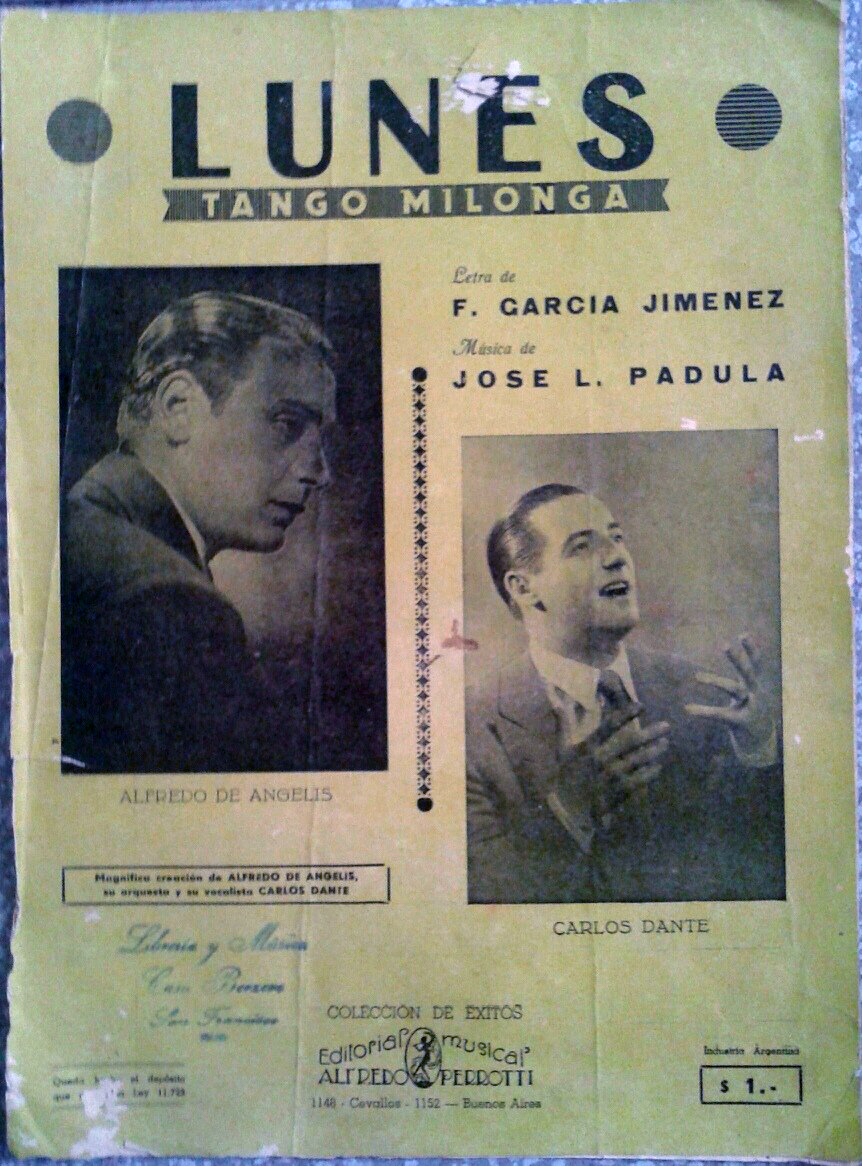 """Lunes"", Argentine Tango music sheet cover."