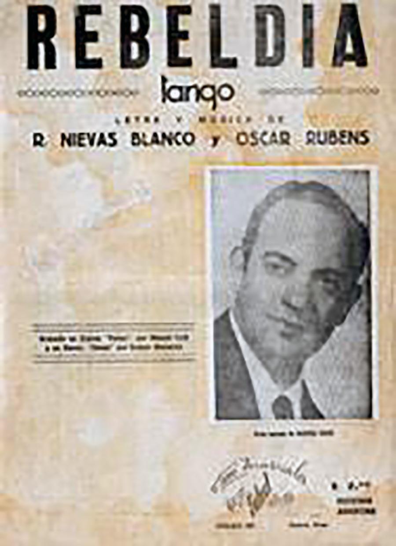 """Rebeldía"", Argentine Tango by Roberto Nievas Blanco, music sheet cover"