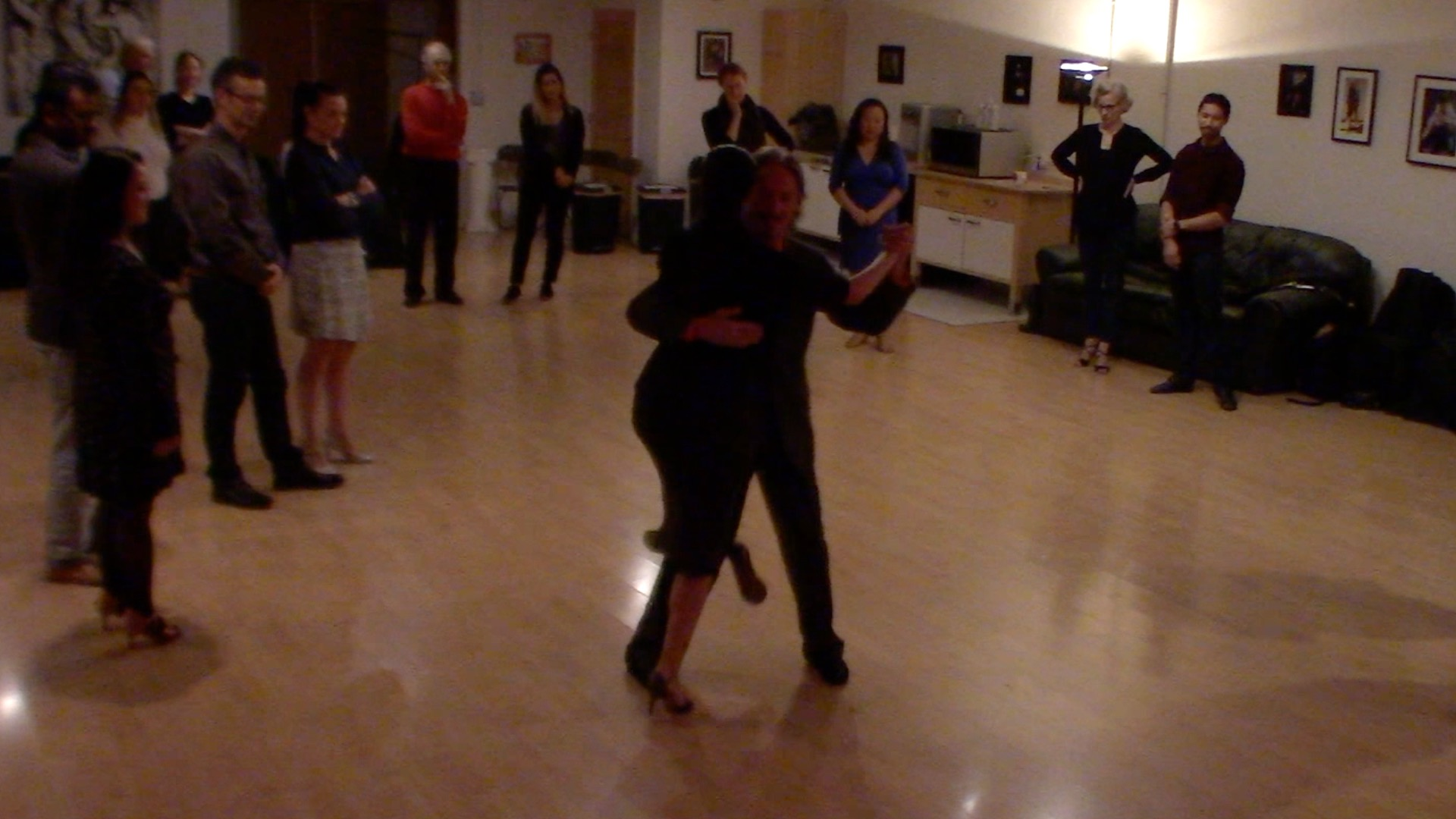 Argentine Tango dancing with Miranda at our beginner's class in San Francisco, October 2019-2