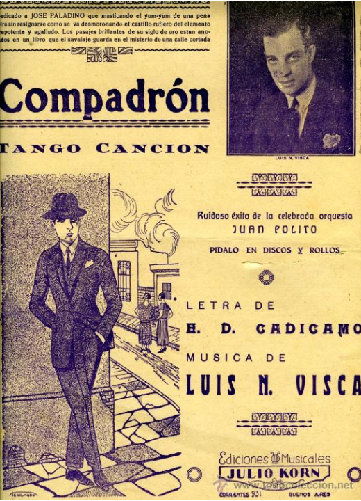 """""""Compadrón"""", Argentine Tango music sheet cover."""