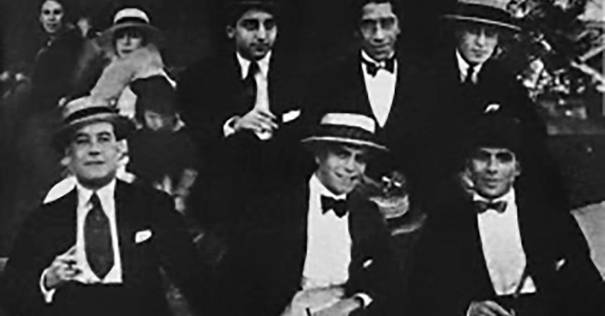 Eduardo Arolas, Argentine Tango musician, leader and composer, and his orchestra in 1919.