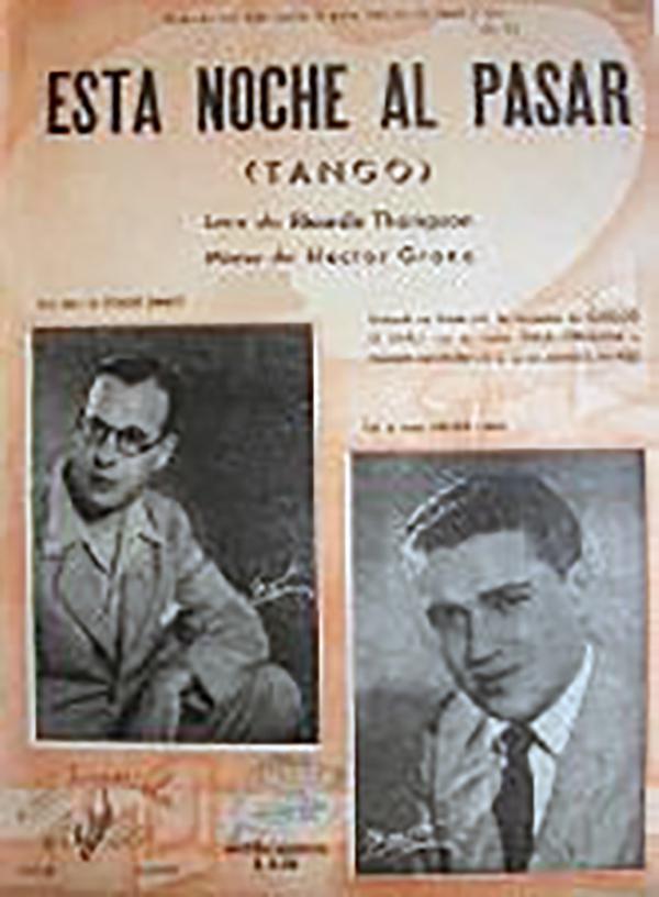 """Esta noche al pasar"", Argentine Tango of Héctor Grané. Music sheet cover."