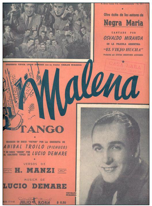 """Malena"", Argentine Tango music sheet cover."