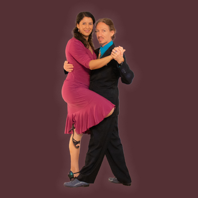 Marcelo Solis dancing Argentine Tango with Mimi at Escuela de Tango de Buenos Aires.