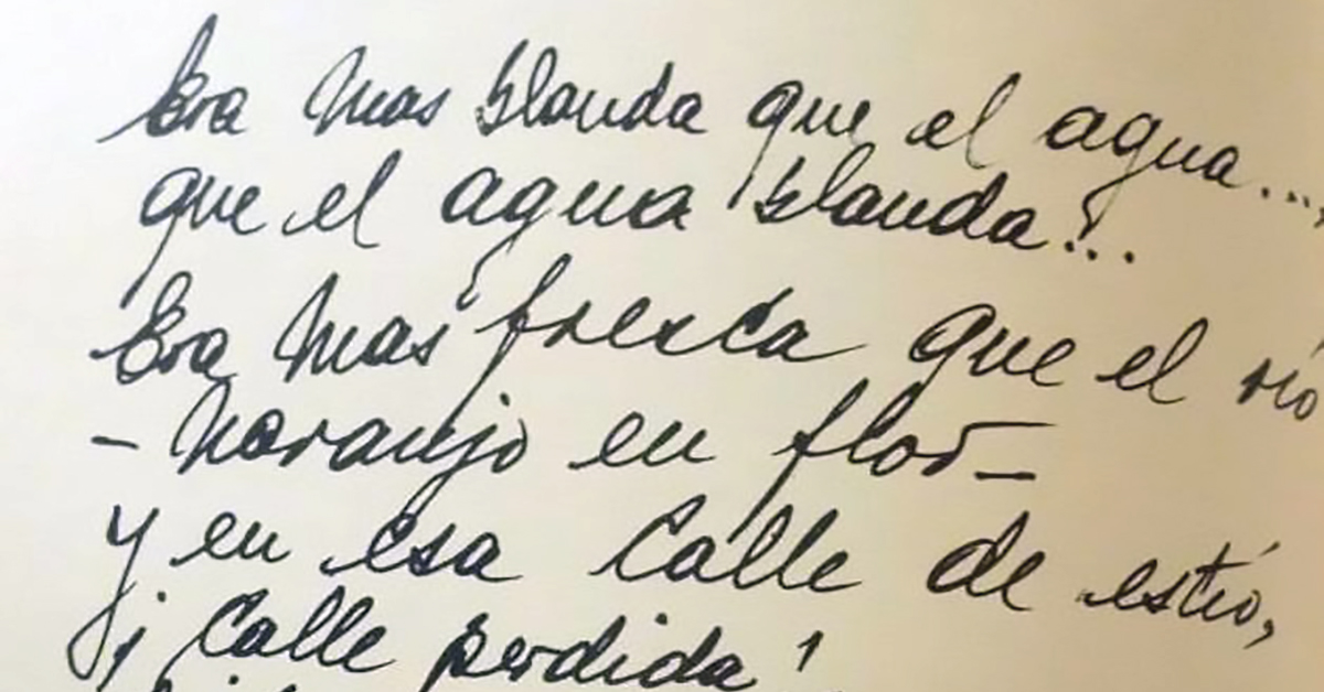 """Naranjo en flor"", Argentine Tango lyrics' manuscript."