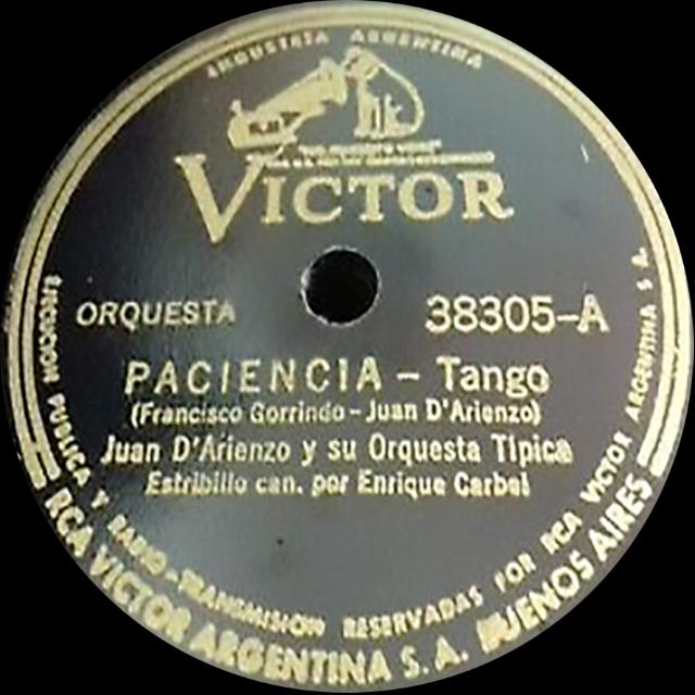 """""""Paciencia"""", Argentine Tango music vinyl disc."""