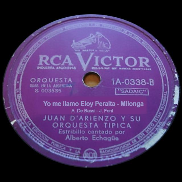 """Yo me llamo Eloy Peralta"", vinyl disc Argentine Tango milonga"