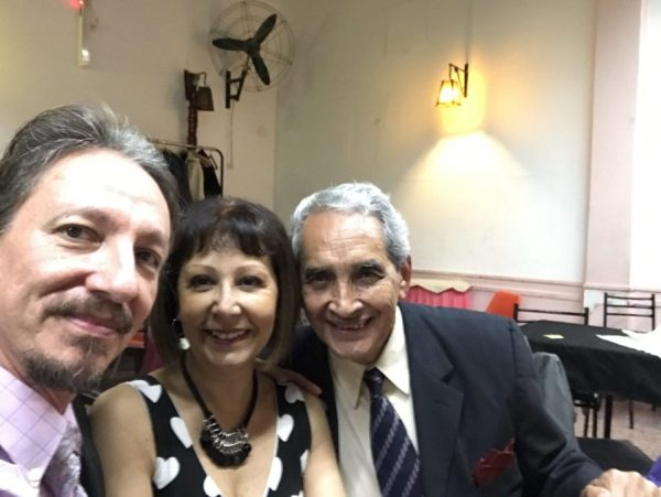 Marcelo Solis with Myriam Pincen and Blas Catrenau in a milonga in Buenos Aires