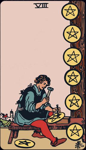 Carta de Tarot 8 de Oros