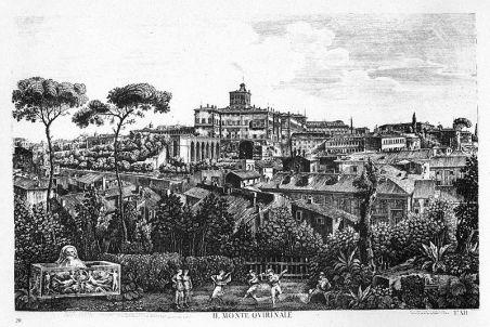 Vista al Palacio del Quirinal, grabado del s. XIX