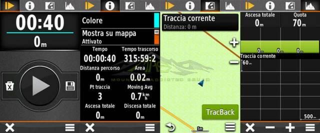 Schermata Garmin APP Traccia Corrente