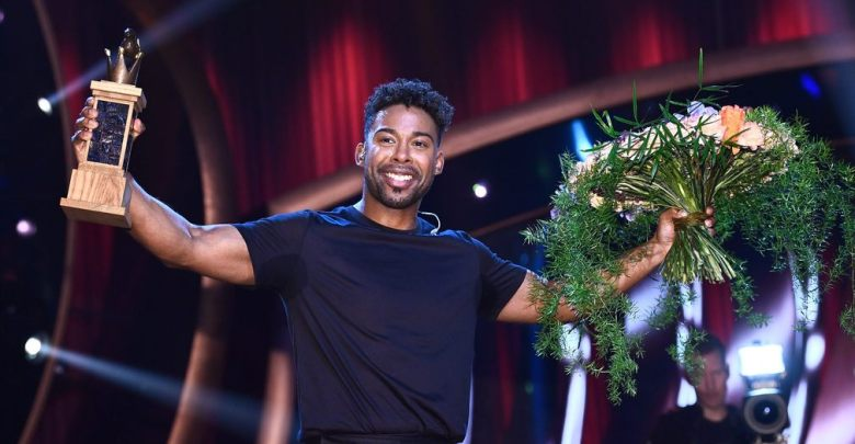 John Lundvik celebrates his Melodifestivalen 2019 win.