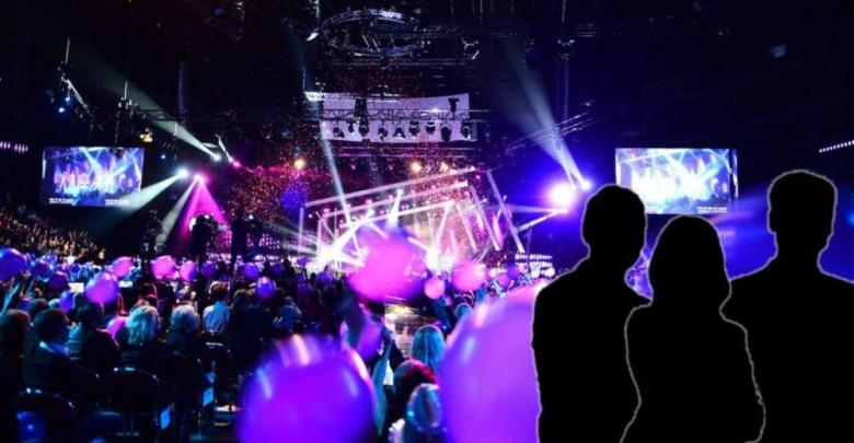 The Melodifestivalen 2017 stage featuring three silhouettes representing the international jury members.