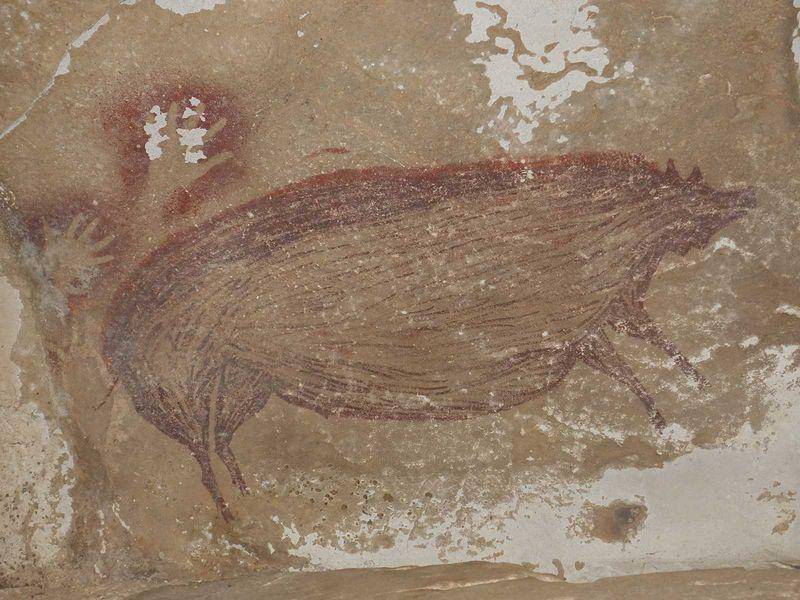 Descoberta uma pintura de 45.000 anos, a mais antiga já conhecida.
