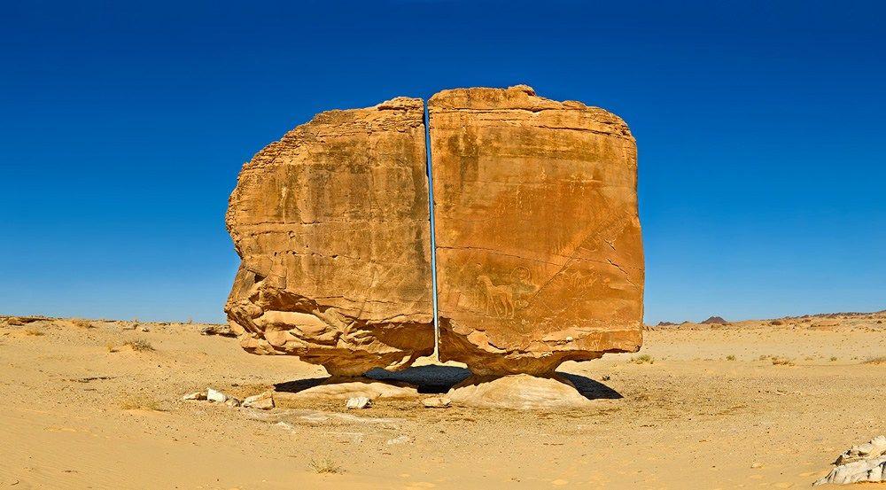 A formação rochosa de 4.000 anos conhecida como Al Naslaa.
