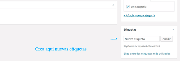 Crear etiquetas WordPress.com