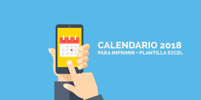 Imagen calendario 2018 para imprimir