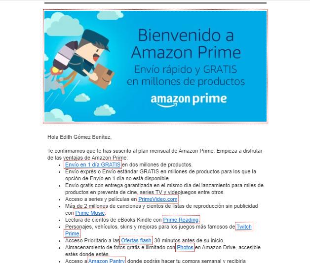 ejemplo email de bienvenida Amazon Prime