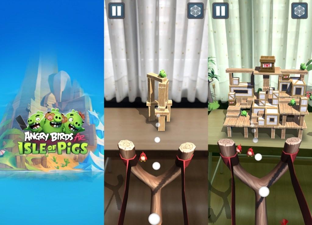 3 capturas de pantalla del juego Angry Birds AR: Isle of Pigs. La primera es una imagen del logo con tres cerdos y una montaña de fondo y la asegunda y la tercera son capturas de una partida a través de la cámara del iPhone, donde se ve un tirachinas y varias estructuras de madera como niveles.