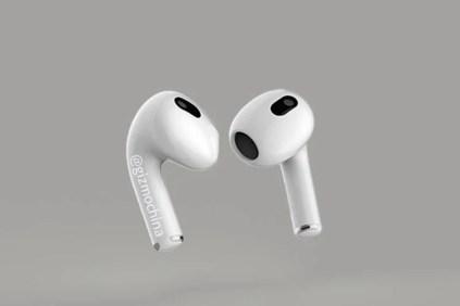 Render de los auriculares Airpods 3 de Apple