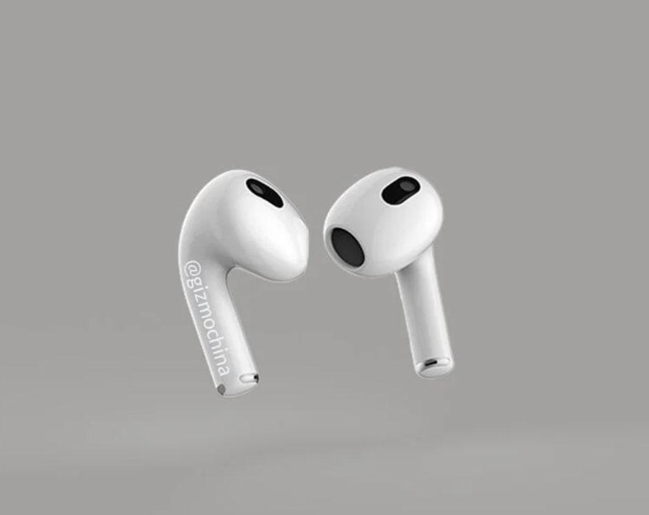 Render de los auriculares Airpods tres de Apple