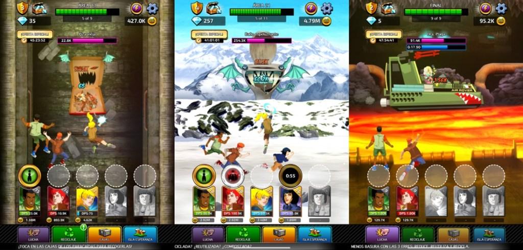 Tres capturas juntas horizontalmente del juego Capitán Planeta en iPad. En cada una de ellas se muestra una escena del juego, donde los protagonistas (algunos de los 5 planetarios) están luchando contra enemigos basura. En la parte de abajo se muestra la interfaz con el nivel de cada personaje y los botones del menú y en la parte superior aparece información relativa a la pantalla, dinero o diamantes.