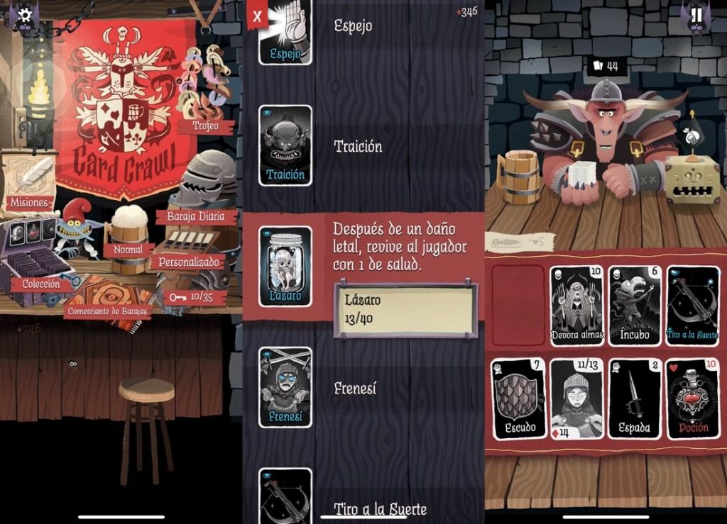 3 capturas de pantalla del juego Card Crawl, donde se muestra el menú principal (es una mesa con cosas), una pantalla de baraja, con explicaciones de cada carta y una pantalla de juego, donde tenemos nuestro personaje con sus cartas y los enemigos en la parte inferior y el contrincante monstruo en la parte superior.