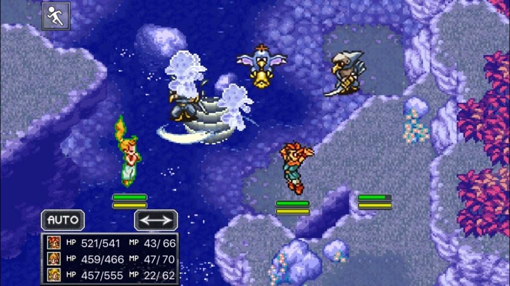 Captura de pantalla del juego Chrono Trigger. Se muestra una escena de combate, con varios personajes peleando. Los gráficos son retro estilo 8 bits.