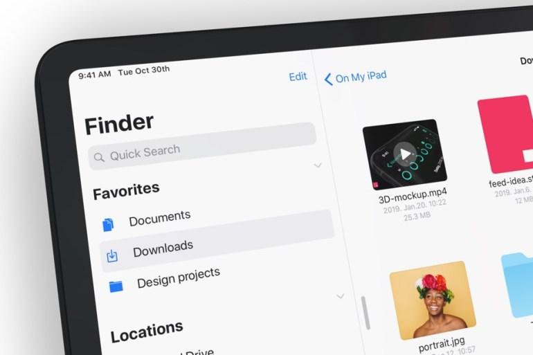 Foto de un trozo de iPad Pro mostrando la aplicación Archivos.