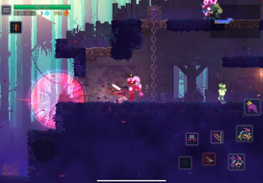 Captura de pantalla del juego en iPad. Se muestra una edificación con varios enemigos.