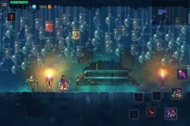 Captura de pantalla de Dead Cells. Se muestra al protagonista y un montón de frascos vacíos colgando del techo