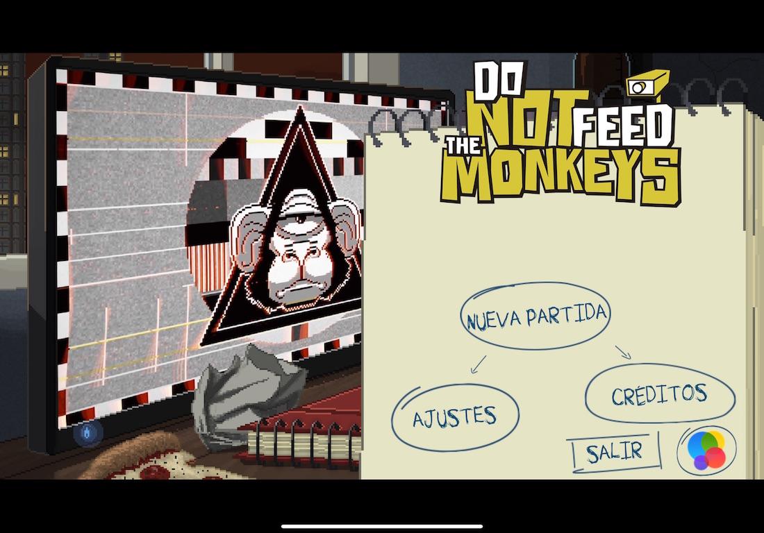 Captura de pantalla de Do not feed the monkeys en iOS. Pantalla principal con el menú de acceso al juego