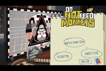 Captura de pantalla de Do not feed the monkeys en iOS. Pantalla principal con el menú de acceso al juego