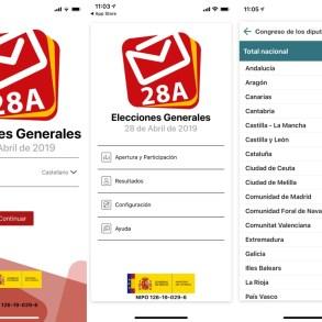 """Capturas de pantalla de la aplicación """"Elecciones Generales 28A"""". Se muestras tres pantallas del menú, una para escoger idioma, otra para seleccionar el tipo de datos a ver y la última con un listado de Comunidades Autónomas."""