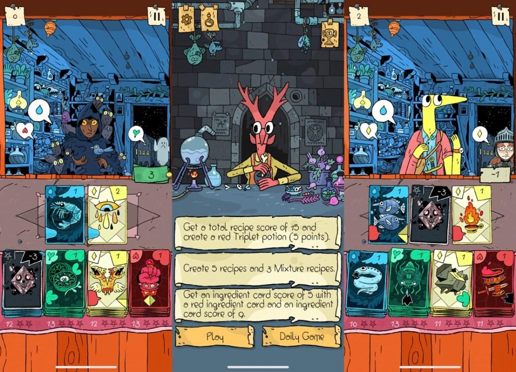 3 capturas de pantalla del juego Miracle Merchant donde se ven varios de los curiosos personajes que nos pedirán pociones y las cartas que tendremos que usar basadas en colores: azules, verdes, amarillas y rojas.