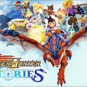 Imagen promocional del juego Monster Hunter Stories, con el protagonista montado a lomos de un dragón y varios personajes de fondo.