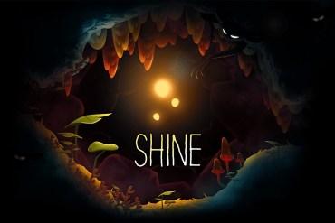 Logotipo juego SHINE dentro de cueva.