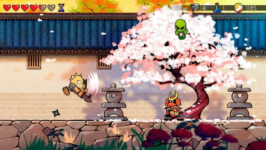 Captura de pantalla del juego Wonder Boy: The Dragon's Trap. Se muestra al protagonista en forma de tigre, atacando con una espada. El escenario es orienta, con un cerezo en flor blanca/rosa y un enemigo samurai debajo.