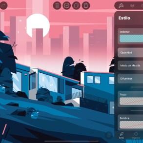 Captura de pantalla de la aplicación Vectornator en iPad. Se muestra una ilustración, además de la interfaz de la app.