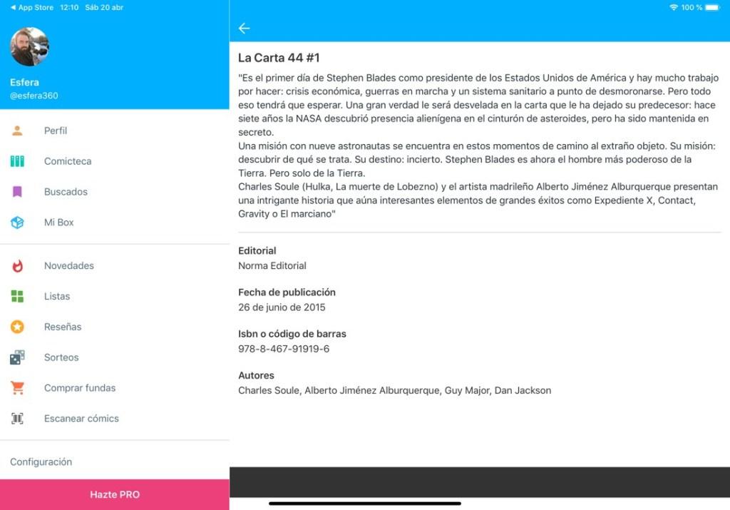 """Captura de pantalla de la app Whakoom. Se muestra la sinopsis del cómic: """"La Carta 44"""", tomo 1. Además de información sobre la editorial, ISBN, Autores y fecha de lanzamiento. A la izquierda se muestra el menú de la aplicación que nos permite movernos entre los diferentes apartados."""