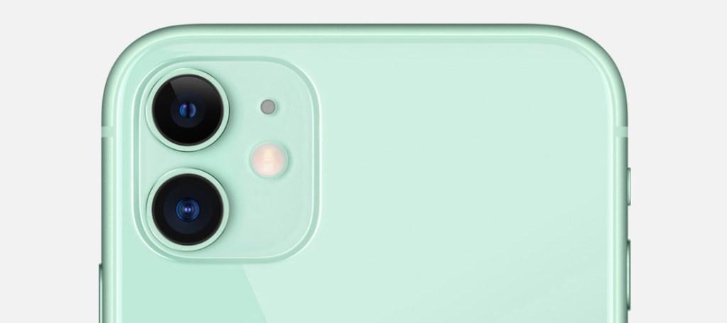 Parte trasera del iPhone 11, mostrando la cámara dual.