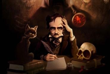 Imagen promocional del libro interactivo: iPoe. Se muestra a Edgar Allan Poe escribiendo en una mesa con una clabera, un gato y una sombra tras de si. El estilo gráfico es cartoon.
