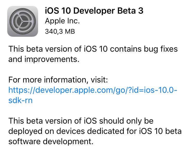 Tercera beta iOS 10