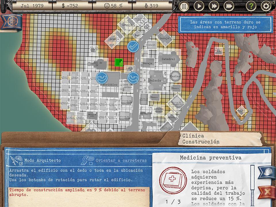 Captura de pantalla del juego Tropico. Se muestra un mapa de calor de una ciudad a modo de mapa esquematizado. En la parte inferior se muestra un texto explicativo sobre el modo arquitecto del juego.
