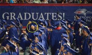 me in a sea of fellow graduates